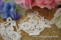 Ivory lace applique pair/flower basket applique/venise lace applique/Cute Patches/Floral Lace Applique/Lace Medallion/priced for 2pc/LA-21-1