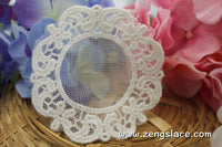 Lace Medallion/Beige round lace applique pair/round applique/Cotton Patch/Cute Patches/priced for a set of two pcs/LA-25