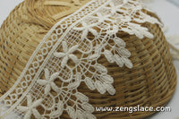 Beige cotton lace trim with danglings, guipure lace trim, VL-2-BE