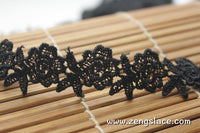 Black Venise lace trim with flowers and leaves, lace choker, guipure lace trim, VL-4-BL