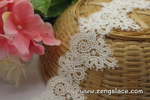 Venise lace trim with scolloped edges, guipure lace trim, 2 1/4 inch wide, VL-15-IV