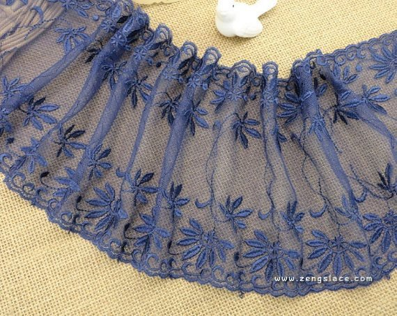 Blue mesh lace trim with vine and flower embroidered on both edges/Stretch Lace/castteam, about 6 inches wide lace by the yard. ee-31-01