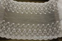 White mesh lace trim embroidered with flowers and leaves and vintage patterns on both sides, 9 inches wide lace by the yard/EE-38