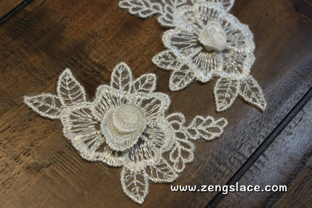 White floral lace applique with a 3D center/Cute Patches/Lace Patch, wedding applique/bridal applique/white lace flower and leaves/LA-38
