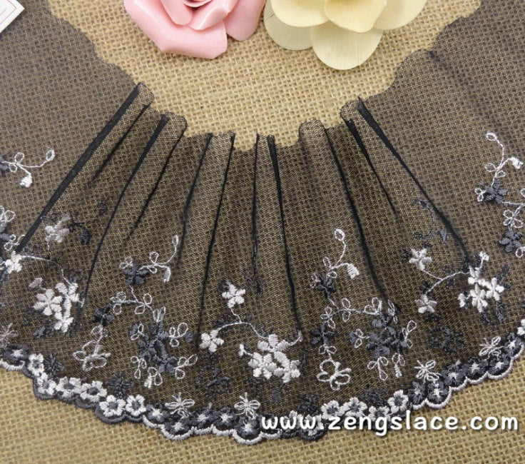 Black mesh lace trim embroidered with white and grey flowers, couture lace, lingerie lace, 4 1/2 inches wide lace by the yard. ee-03-01
