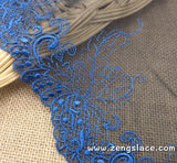 Blue mesh lace embroidery on black mesh lace trim, wide lace trim, lace by the yard, couture trim, cast team lace, doll lace trim. ee-10-01