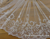 Ivory mesh lace trim embroidered with rosebuds and vines, bridal lace, soft lace, about 7 1/4 inches wide, lace by the yard. ee-23-01