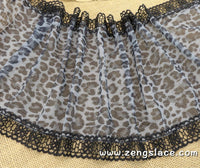 Black lace trim with leopard printed on mesh lace, couture trim, lingerie lace, lace embroidery, lace by the yard, ee-24-01