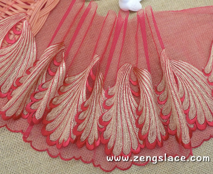 Red mesh lace trim with gold leaves pair patterns, lingerie lace, embroidery lace, about 8 1/2 inches wide, lace by the yard. ee-29-01