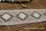 Off-White cotton mesh lace ribbon with diamond pattern and floral embroidery, 2 inches wide lace trim, lace by the yard. LR-05