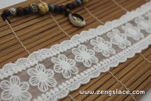 Off-White cotton mesh lace ribbon with flowers and scalloped edges, shabby chic lace, 2 1/4 inches wide, priced for 1 yard. LR-02