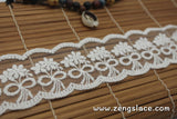 Off-White cotton lace ribbon with flowers embroidered on mesh lace trim/scalloped edging/bridal lace/2 inches wide, lace by the yard. LR-04