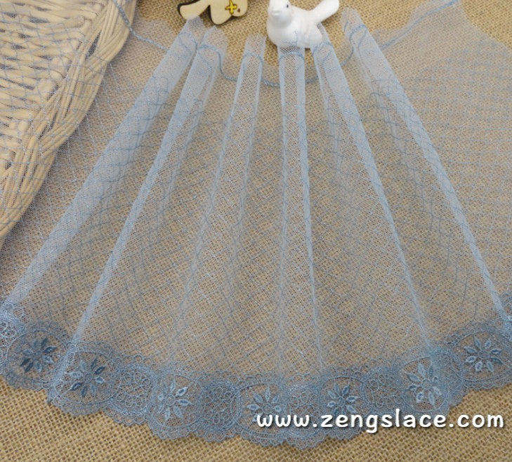 Blue mesh lace trim embroidered with oval patterns, bridal lace, lace embroidery, couture trim, castteam, lace by the yard. ee-20-01
