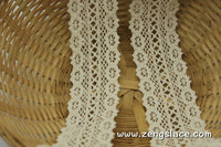 Beige cotton crochet lace with double edges, 1 3/4 inches wide, CL-11