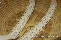 Beige cotton lace trim with double edge, 3/4 inches wide, CL-01