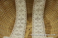 Beige cotton crochet lace trim, 1 1/4 inches wide, CL-02