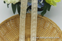 Beige cotton lace trim/Lace Curtain Trim/Crochet Lace Trim/Vintage Lace Trim/Bohemian Lace Trim/Lace Insertion Trim/Lace By the yard/CL-13-x