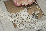 Wide guipure lace trim with flowers and vines, venise lace trim, 4 3/4 inches wide. GL-25