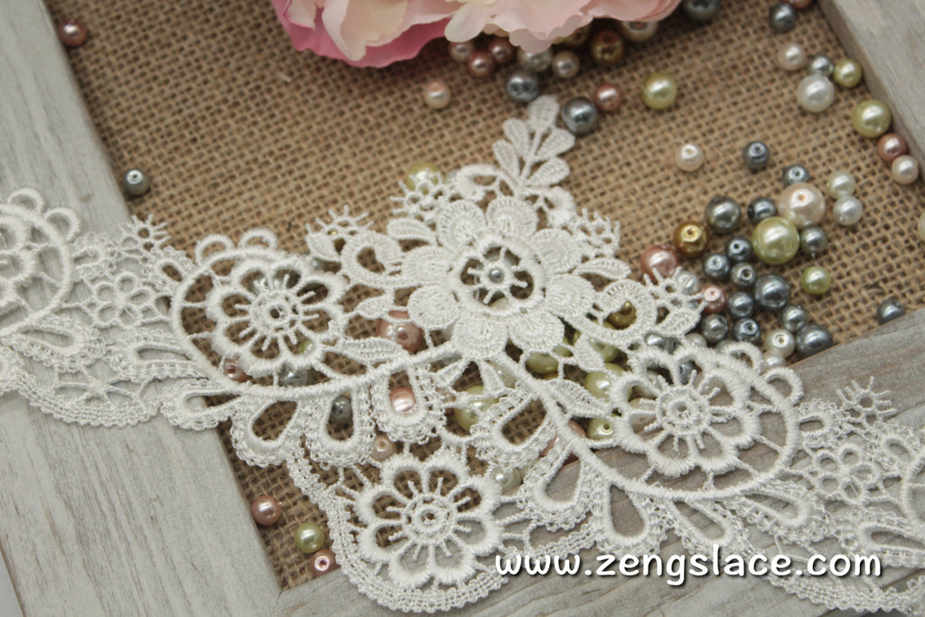 Guipure lace trim/Venise Lace Trim/Bridal Lace Trim/Wedding Dress Lace/Bridal Veil Lace/Off-White Lace Trim/Antique Lace Trim/GL-25