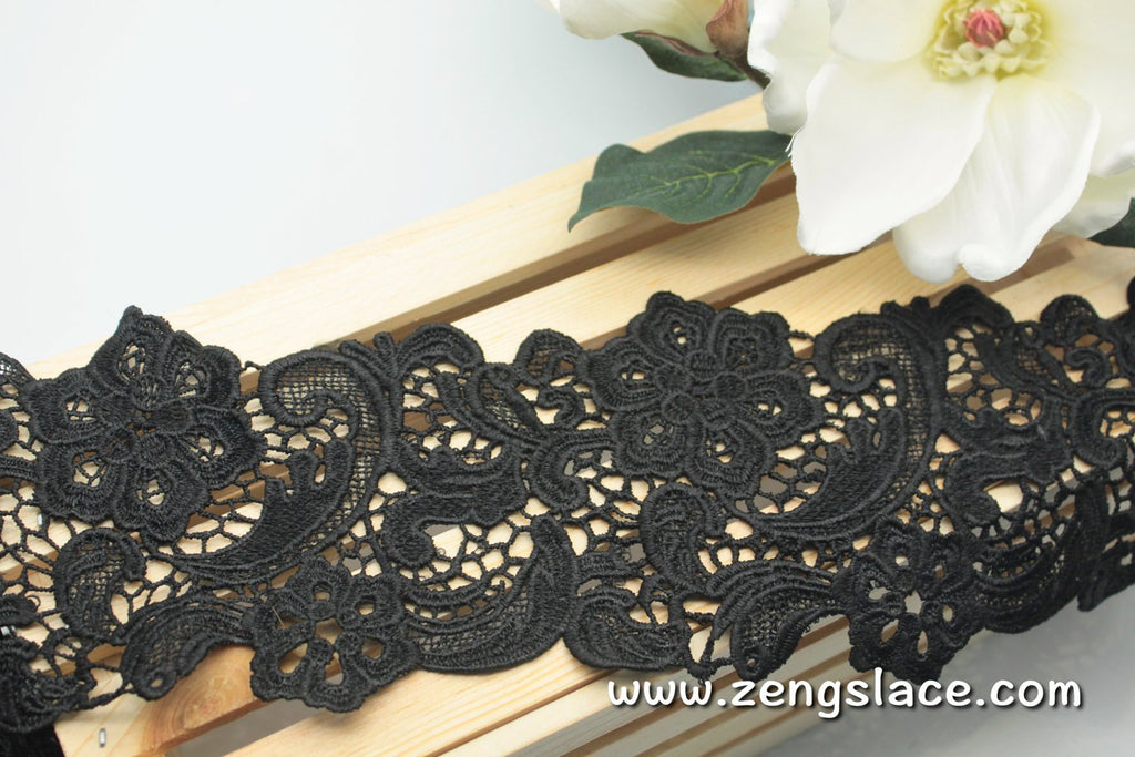 Wide guipure lace trim with flowers and vines, venise lace trim, 4 inches wide. GL-27