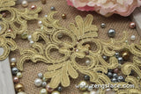 Gold guipure lace trim with symatrical pattern, venise lace trim, 4 1/2 inches wide. GL-29-GD