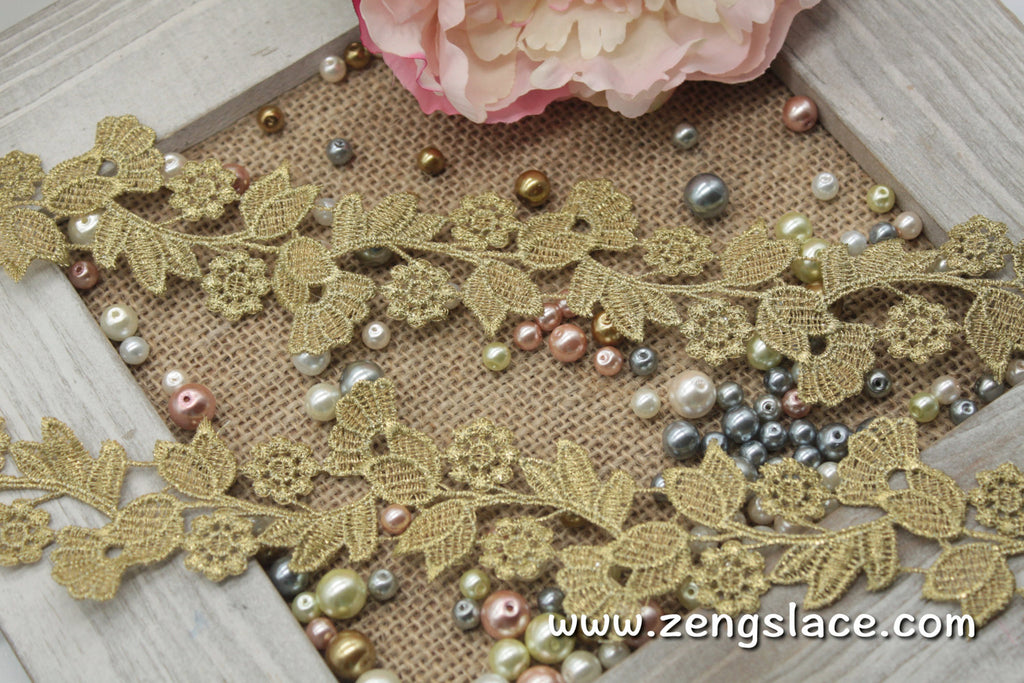 Gold guipure lace trim with small flowers and leaves on vine, venise lace trim, GL-30-GD