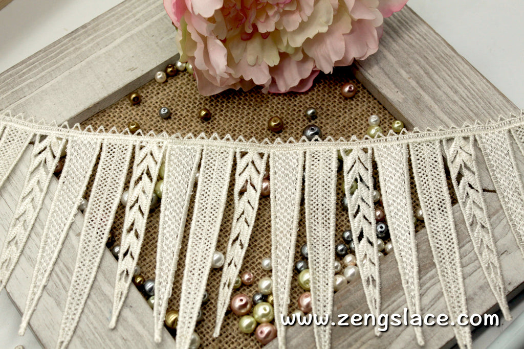 Dangling guipure lace trim, triangle dangle lace trim, 4 3/4 inches wide, GL-31