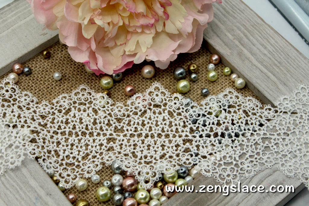 Guipure lace trim with unique Victorian pattern, venise lace trim, wedding lace, GL-38