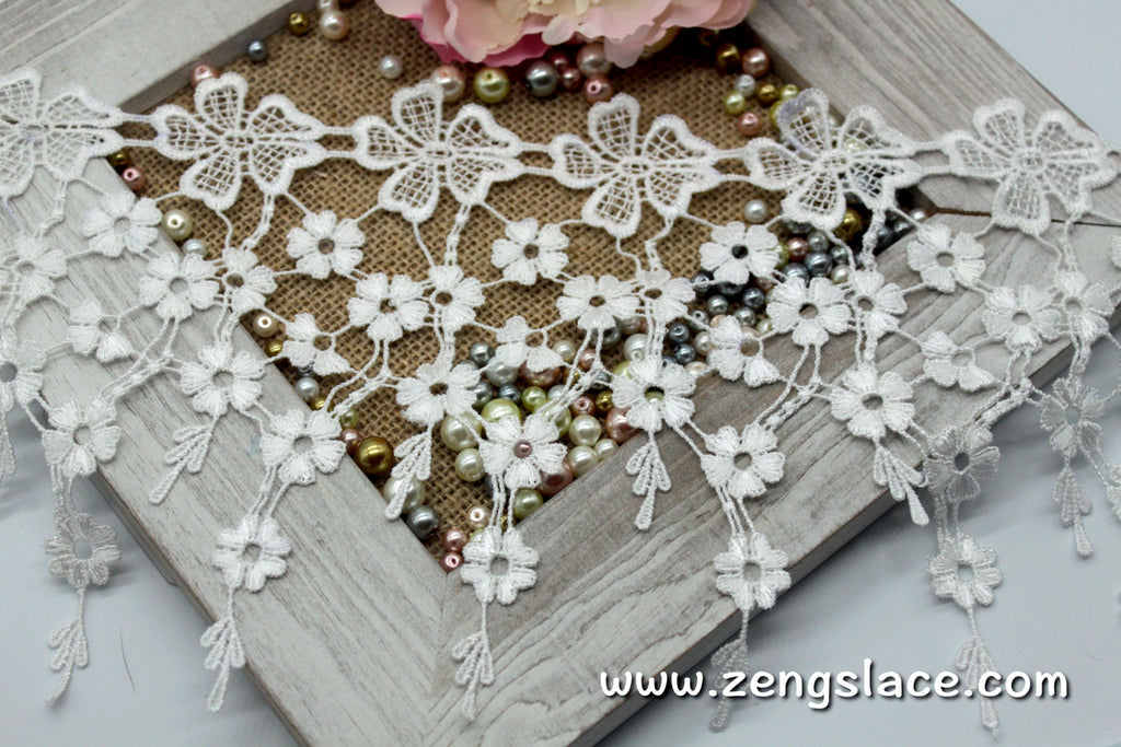 Guipure lace trim with flowers/Venise Lace/7 inches lace/Wide Lace/Vintage Lace/Antique Lace/Lace Curtain Trim/lace by the yard, GL-40