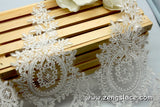Off-White Alencon lace trim with floral patterns embroidered, wedding lace, bridal lace, AL-2