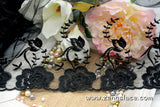 Black wide mesh lace trim with flower and leave embroidery, wedding lace, bridal lace, EL-51
