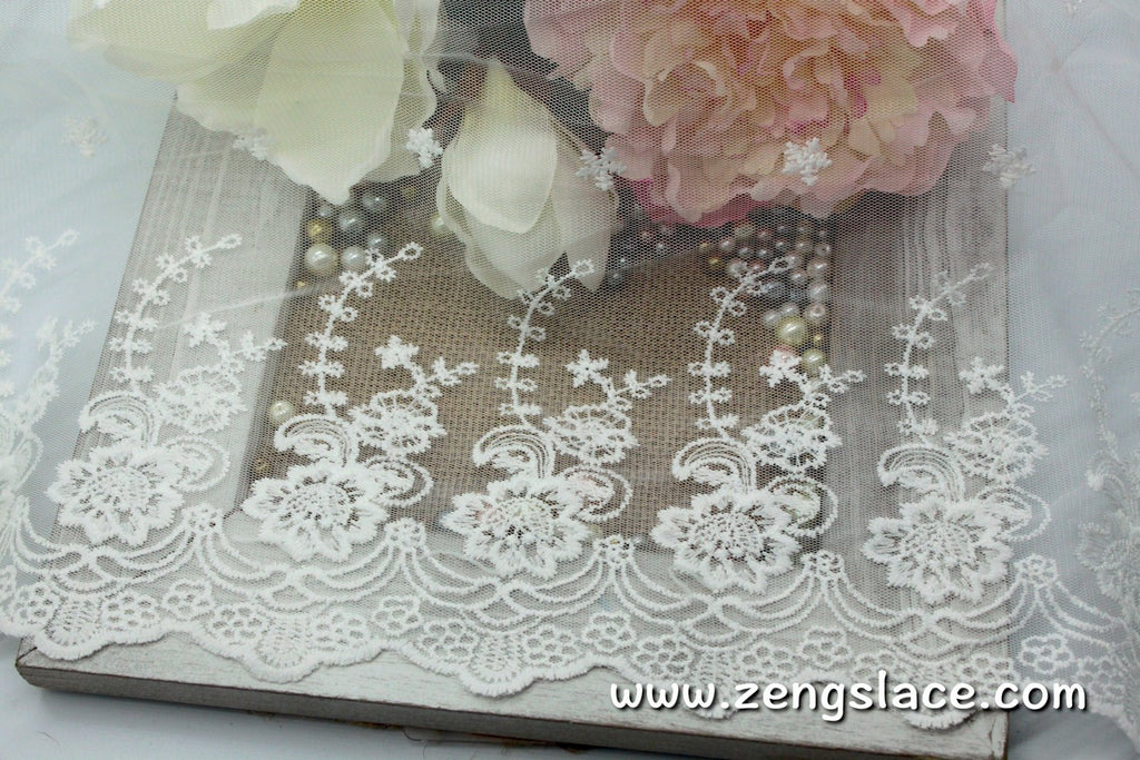 Off-white lace trim with floral embroidery, white lace fabric/wedding lace/wedding dress/bridal lace/17 inches wide lace by the yard, EL-62