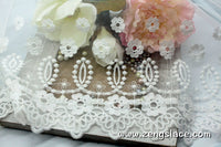 Off-white lace trim with floral embroidery, white lace fabric, wedding lace, unique bridal lace/13 3/4 inches wide lace by the yard/EL-63