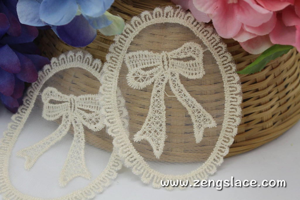 Beige oval lace applique, LA-1-1