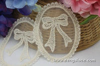Beige Lace Applique Pair/Lace Medallion/Cute Patches/Bowtie Applique/Cotton Patch/Cotton Applique/Round Applique/priced for 2pc/LA-1-1