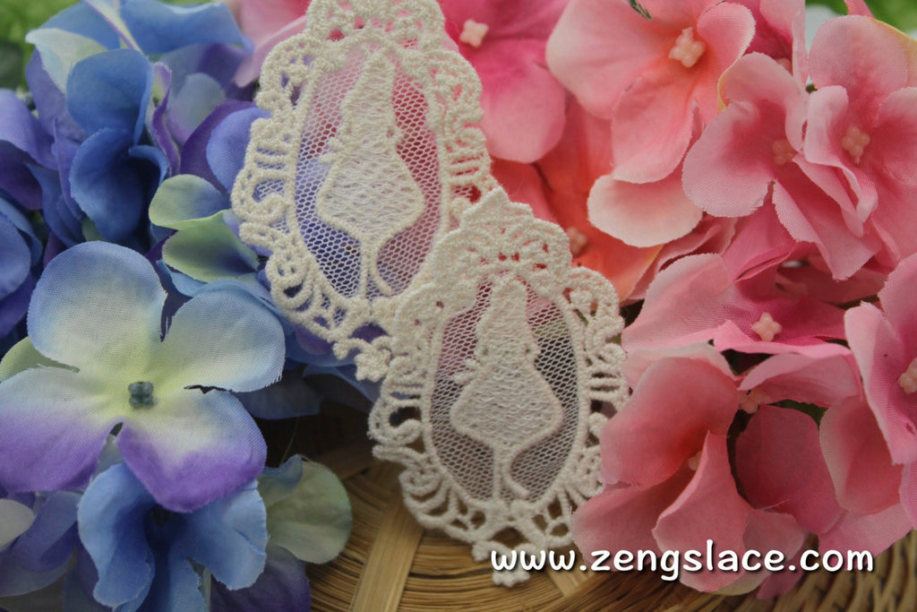 Beige oval lace applique pair/Lace Medallion/Cute Patches/little girl applique/Cotton Patch/Round Applique/priced for 2pc/LA-3