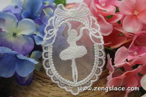 White lace applique pair/ballet dancing girl applique/Lace Medallion/Cute Patches/Cotton Patch/Round Applique/priced for 2pc/LA-13-1