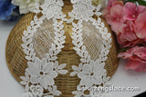White bridal cotton lace applique, flower applique with mesh ground, LA-17-1