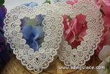 White lace applique pair/Heart-shaped applique/Cute Patches/Cotton Applique/bridal applique/Cotton Patch/Lace Medallion/priced for 2pc/LA-23
