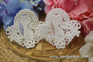 White lace applique pair/cat applique/kitty applique/Cotton Patch/Lace Medallion/Cute Patches/Round Applique/priced for 2pc/LA-24-x