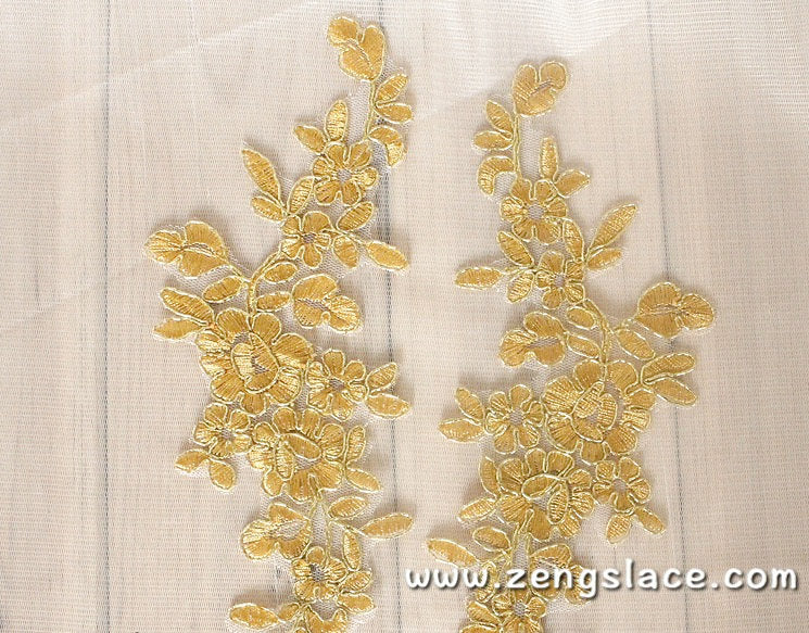 Alencon lace applqiue with floral pattern,wedding applique,bridal applique, priced for 2 ps. ALA-01