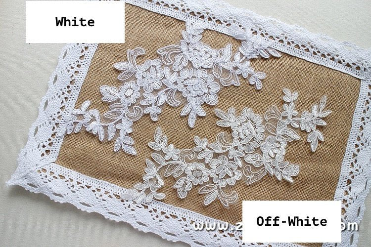 Bridal Lace Applique Pair/Off-white Alencon lace Applique/Boho Wedding Dress Applique/Prom Dress Applique/Luxury Applique/ALA-02
