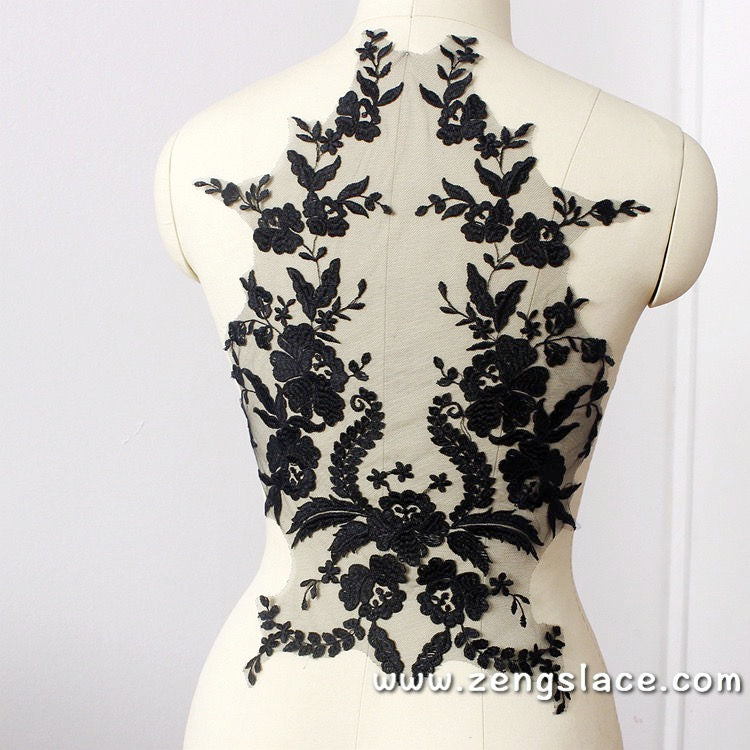 Mesh lace applique embroidered with symmetrical flower and leave patterns. ALA-07