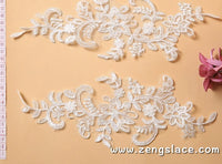 Bridal Lace Applique Pair/Off-white Alencon lace Applique/Boho Wedding Dress Applique/Prom Dress Applique/Luxury Applique/ALA-04