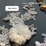 White/off-white 3D Alencon lace applqiue with Rhinestone and tulle flower, priced for 2 ps. ALA-13