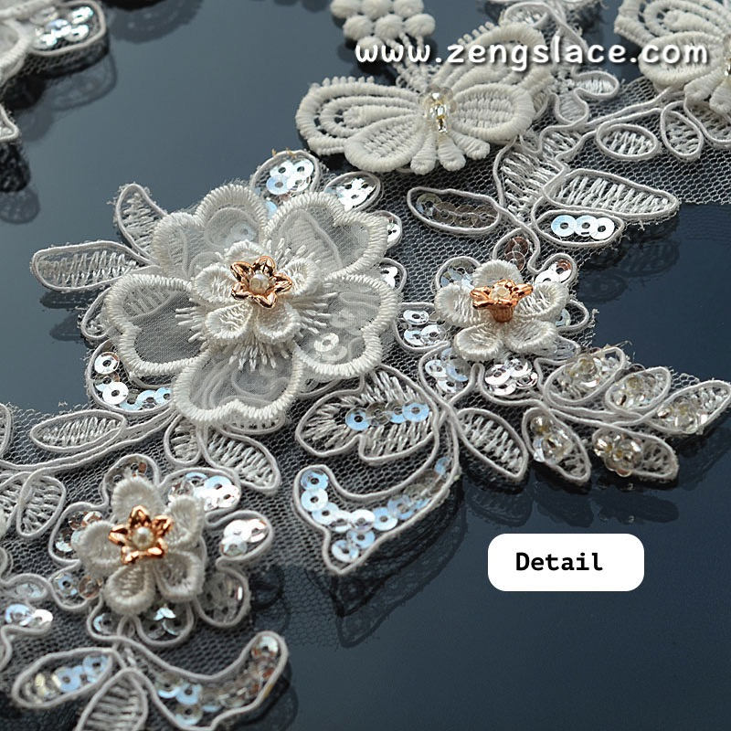 Off-White beaded Alencon lace applqiue with gold flower and lace butterfly, priced for 2ps, ALA-17