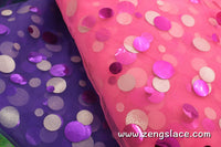 Mesh tulle lace fabric with sequin flakes on it, seven colors to choose, FL-02