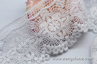 Off-White guipure lace trim embroidered with oval patterns, scalloped edge, priced by yard VL-30-WH