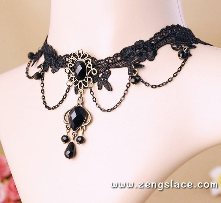 Gothic Choker Necklace/Gothic Jewelry/Steampunk Necklace/Beaded Choker/Victorian Necklace/Vampire Necklace/Gothic Decor/Lace Choker/LN-04-BK