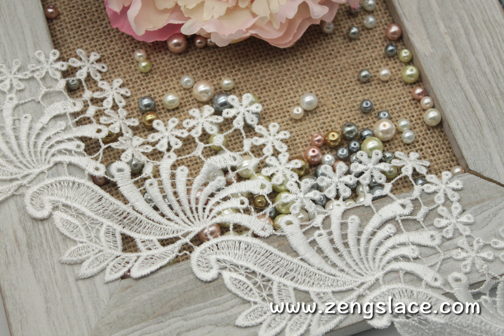 Guipure lace trim/Venise Lace Trim/Bridal Lace Trim/Wedding Dress Lace/Bridal Veil Lace/Off-White Lace Trim/Antique Lace Trim/GL-26